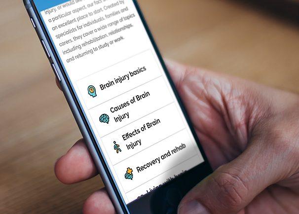 Mobile phone showing Brain Injury Hub