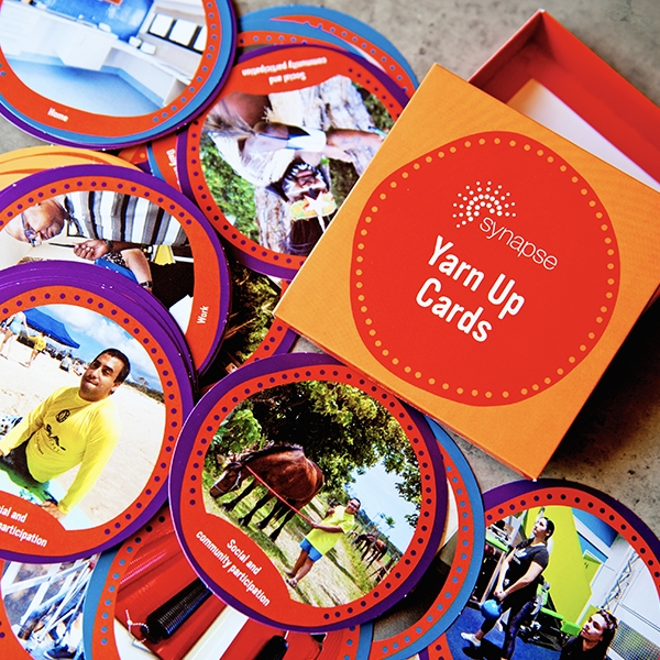 Yarn Up Cards displayed on table